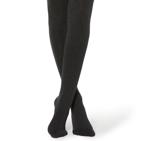 Black ribbed sweater tights